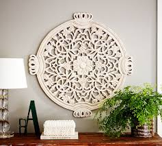 on antique white wood wall art with floral wall medallion pottery barn
