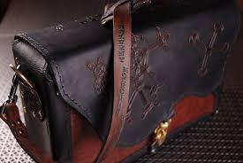 custom tooled leather briefcase messenger bag