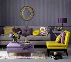 furniture color matching. purple and yellow color scheme for living room design wallpaper with stripes furniture upholstery fabrics matching o