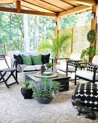Black And White Patio Design Ideas Cozy Black White Green Outdoor Room Filled With