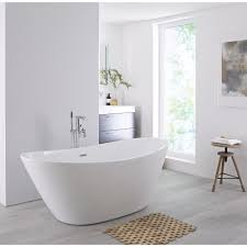 Image Corner Milano Irwell White Modern Oval Doubleended Freestanding Bath 1570mm 785mm no Tapholes Big Bathroom Shop Milano Irwell White Modern Oval Doubleended Freestanding Bath