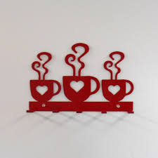 Red Kitchen Wall Decor Coffee Hearts Metal Wall Hanging Oven Mitt Rack Bright Red