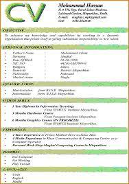 Resume Cv Format Freshers For Bco Sevte