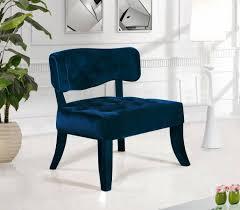 blue velvet accent chair. Meridian Furniture Charlotte Modern Navy Blue Velvet Accent Chair (Set Of 2) Reviews-