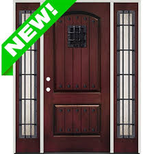 rustic pre finished mahogany fiberglass prehung door unit with rustic sidelites metal speakeasy