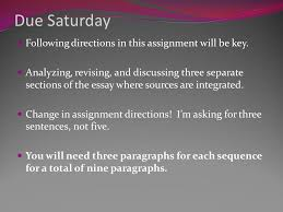 revising source integration due saturday following directions in due saturday following directions in this assignment will be key