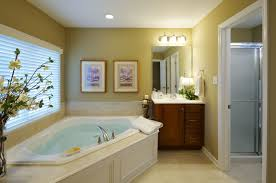 white corner bathtub surround at white stained wooden panel under large glass window for small bathroom
