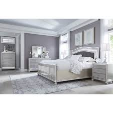 Silver Mirrored Bedroom Furniture King Panel Bed With Arched Upholstered Headboard And Silver Finish