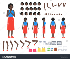 Design Your Own Casual Dress Black Woman Casual Dress Creation Kit Stock Vector Royalty