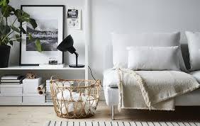 Black and white bedroom ideas for young adults Bedroom Furniture Living Room With White Sofa Black Lamp Open Storage Unit And Wicker Basket Ikea Ideas Ikea
