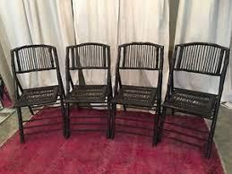 I Image Is Loading Bamboorattanfoldingchairsblacksetoffour