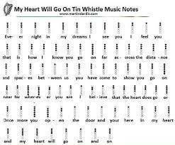 My Heart Will Go On Tin Whistle Finger Chart My Heart Will Go On Tin Whistle Sheet Music In 2019 Tin
