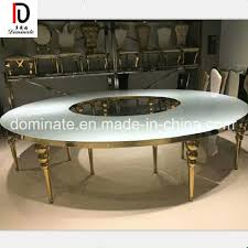 modern luxury mirror glass top rectangle round gold stainless steel wedding table for dining room hotel restaurant banquet