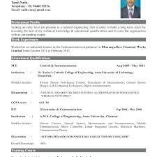 Standard Resume Format For Freshers Engineers Standard Resume