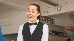 Restaurant Hostess Waiter Hostess Welcoming Customer In Restaurant
