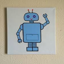 original hand made robot nursery wall art 12 x 12 acrylic painting on  on robot nursery wall art with original hand made robot nursery wall art 12 x 12 acrylic