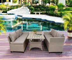 rattan wicker dining table set outdoor