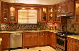 kitchen comfortable traditional kitchen with l shape brown kitchen cabinet and mosaic ceramic backsplash added