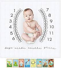 Joobebe Infant Baby Milestone Blanket Set With Landmark Moments Baby Milestone Cards And Monthly Growth Chart Backdrop Newborn Baby Photography Props