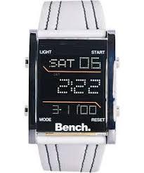 bench men s white digital watch ib767ah amazon co uk garden bench men s white digital watch ib767ah