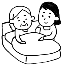 介護のイラストベッドのおばあさん ゆるかわいい無料イラスト素材集