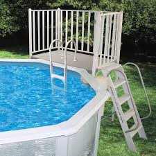 above ground pool with deck and hot tub. Splash Pools 52-in Aluminum Pool Deck Ladder With Hand Rail Above Ground And Hot Tub