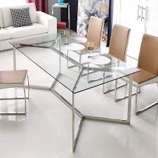 calabria stainless steel and gl dining table furniture stainless steel steel and gl