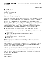 Executive Cover Letters Account Executive Cover Letter Sample