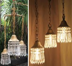 1 vintage 3lite hanging swag lamp chandelier tole brass deco style lily crystal 1880200018