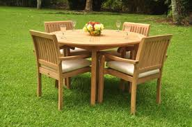 sack grade a teak wood 5pc dining 52 round table 4 arm chair set