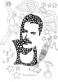 Freddie Mercury Famous People Coloring Pages To Print Within Page