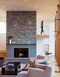 Stacked stone fireplaces living room contemporary with stone fireplace high  ceiling