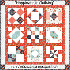 """BOMquilts.com – Free Block of the Month Quilt Patterns (and more ... & """"Happiness is Quilting"""" 2017 Block of the Month Quilt. An original Project  designed by TK Harrison from BOMquilts.com """"Happiness is Quilting"""" features  a ... Adamdwight.com"""