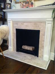 subway tiles fireplace and hearth
