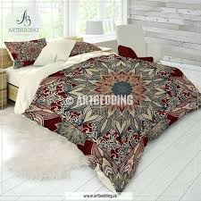 mandala duvet cover bohemian bedding burdy and dark teal mandala duvet cover set red mandala comforter