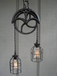 Pulley Ceiling Light Fixture Reserved For Lisa Upcycled Vintage Well Pulley By