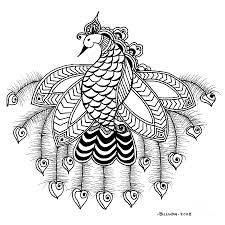 Indian Peacock Design Indian Peacock With Hanging Feathers Tattoo Design