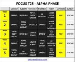 Get The Focus T25 Workout Calendar Schedules