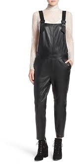 black leather overalls olivia palermo chelsea28 leather overalls