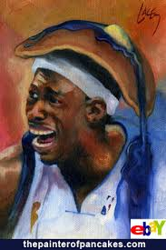 A miniature oil painting of Josh Howard with a pancake on his head. Mr. Howard is the Dallas Mavericks forward who was recently filmed disrespecting the ... - josh-howard-dallas-mavericks-nba