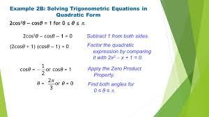 example 2b solving trigonometric equations in quadratic form