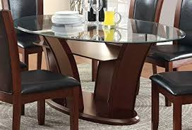 Glass top dining tables Seater Image Unavailable Amazoncom Amazoncom Furniture Of America Okeho Contemporary Oval Glasstop