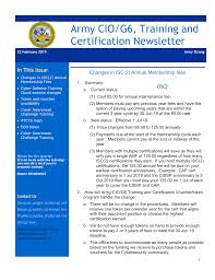 Army Ciog6 Training And Certification Newsletter 22 Feb 19