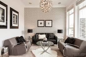 living rooms with wallpaper