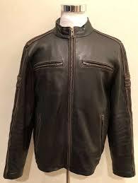 details about rare black rivet mens motorcycle biker racer distressed brown leather jacket l