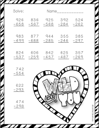 3.NBT.2 Valentine's Day Themed 3 Digit Subtraction With Regrouping ...