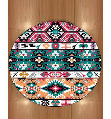 else red pink aztec authentic 3d print anti slip back microfiber round carpets area rug for