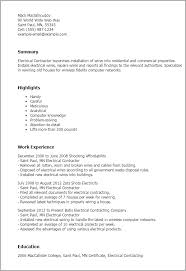 contractor resume 1 electrical contractor resume templates try them now myperfectresume