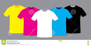 Coloured Blank T Shirts Template Set Stock Vector