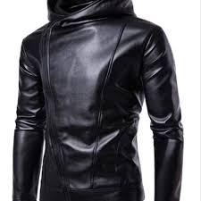 pu faux leather jacket men biker jacket leather jacket male motorcycle jacket leather hood black m
